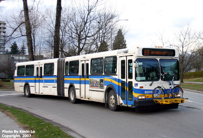 B3015 Seen Departing UBC Working Route 99 B Line To Broadway Station